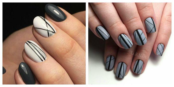 Абстрактные линии на короткие ногти
