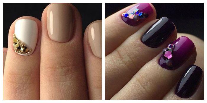 Стразы и бисер на коротких ногтях
