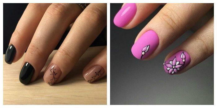 Цветы на короткие ногти
