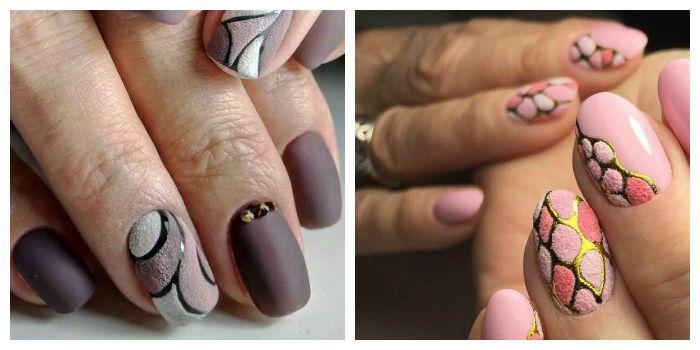 Маникюр на короткие ногти с пудрой