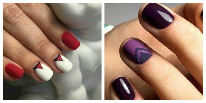 Лунный маникюр с треугольниками на коротких ногтях