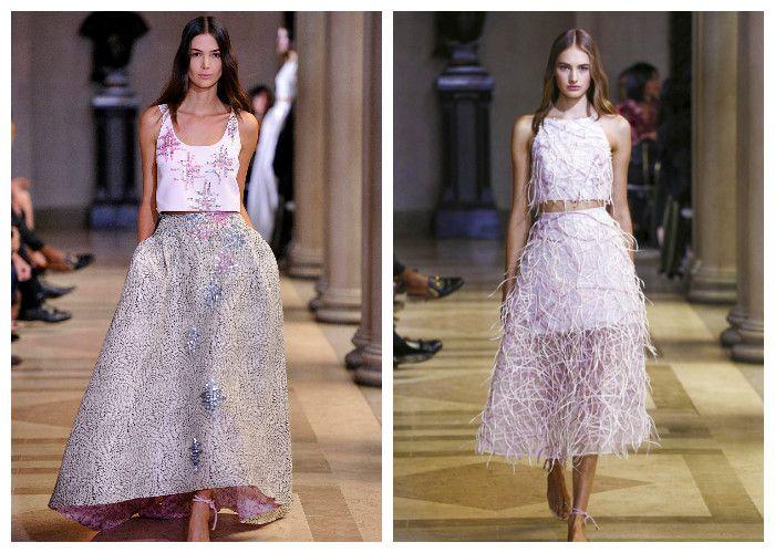 Нежно розовые платья с кроп-топом: коллекция весна-лето Carolina Herrera