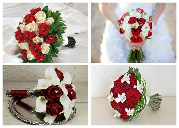 Красно-белый свадебный букет (фото)