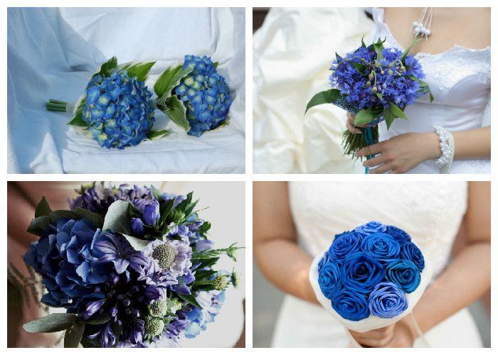 Свадебный букет синий (фото)