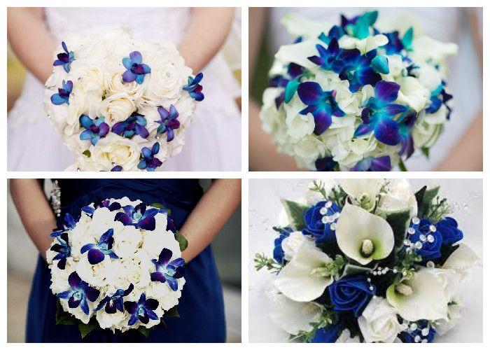 Свадебный букет бело-синий (фото)