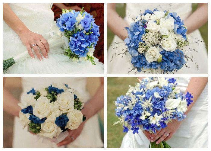 Бело-голубые свадебные букеты (фото)