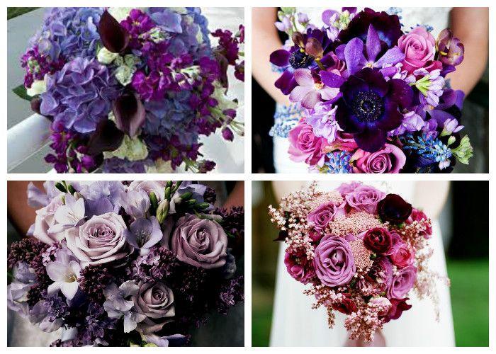 Фиолетовый свадебный букет (фото)