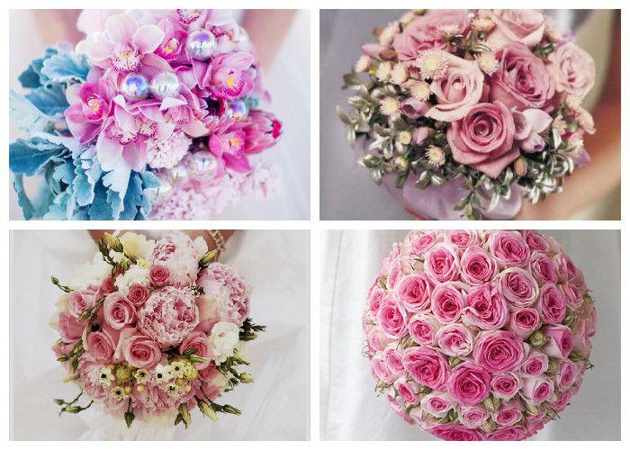 Розовый свадебный букет (фото)