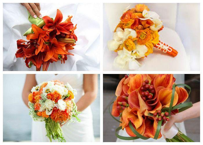 Оранжевый свадебный букет (фото)