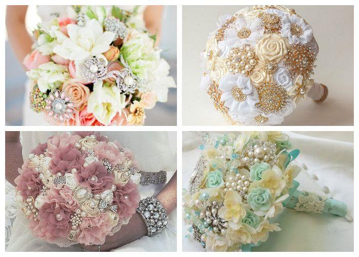Свадебный букет 2017 с брошками