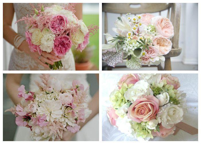 Свадебный букет розово-белый
