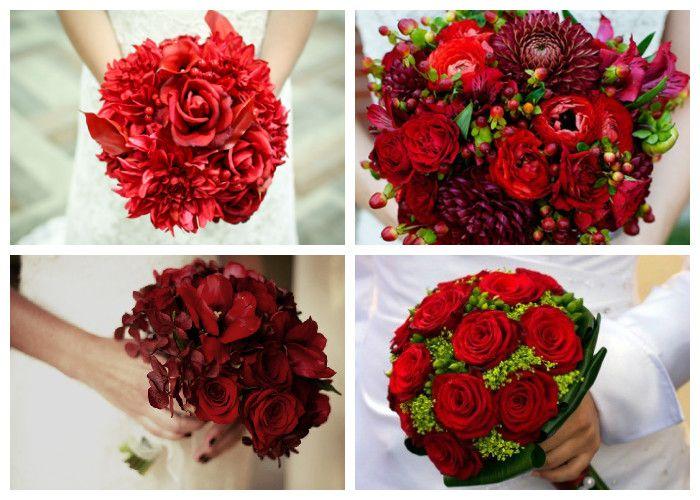 Свадебный букет красный (фото)