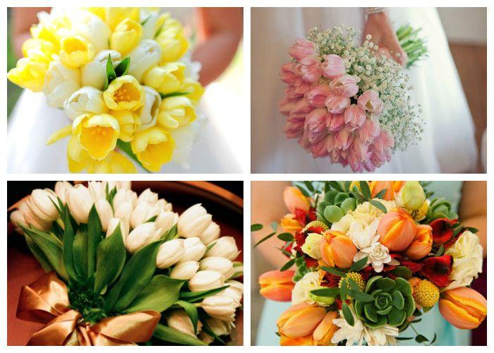 Свадебный букет для невесты из тюльпанов