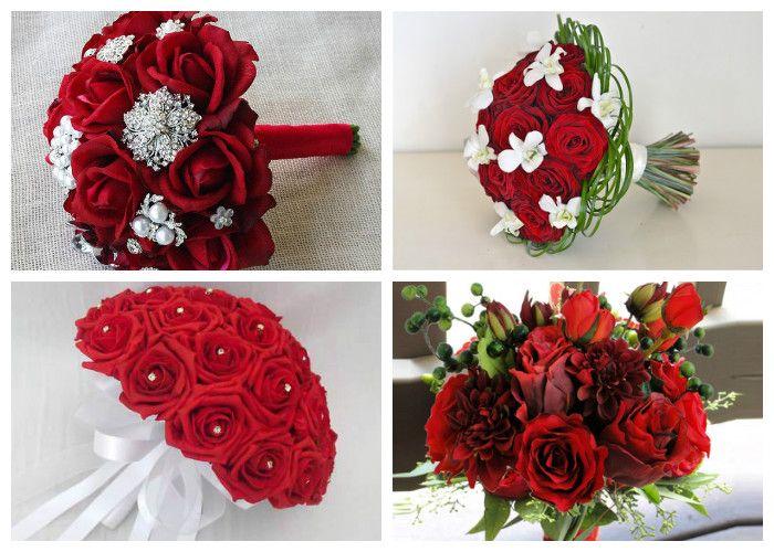 Свадебный букет для невесты из красных роз