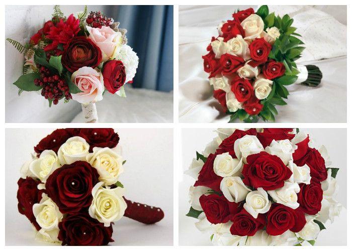 Свадебный букет для невесты из красных и белых роз