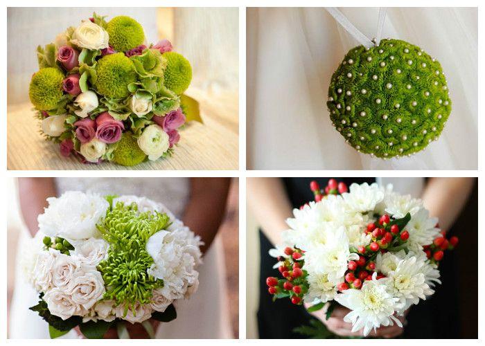 Свадебный букет для невесты из хризантем