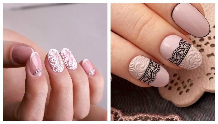 Дизайн ногтей с кружевом на 8 марта
