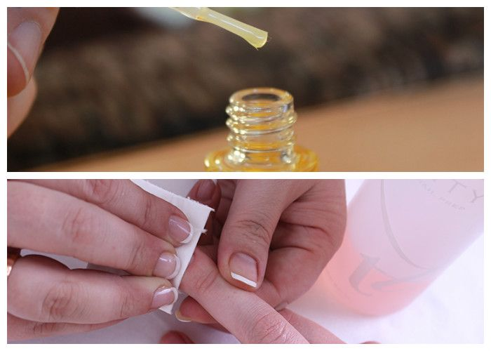 Маникюр в домашних условиях: фото поэтапно. 4. Наносим масло для ухода за кутикулой, даем впитаться, затем слегка шлифуем поверхность ногтя бафом для создания шероховатости. Далее тщательно обезжириваем поверхность ногтя.