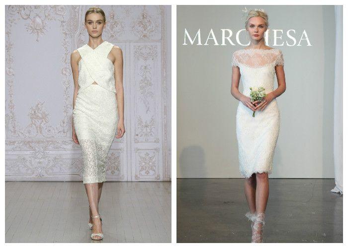 Короткое свадебное платье – футляр украшенное кружевом