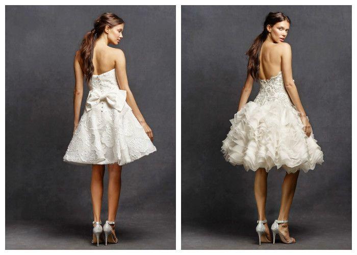 Короткое свадебное платье средней длины