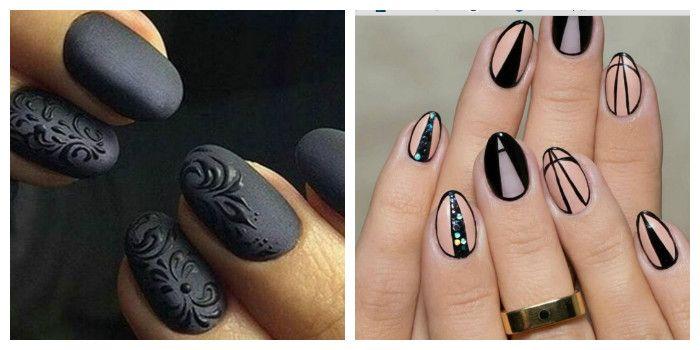 Стильный летний маникюр в черном цвете (фото)