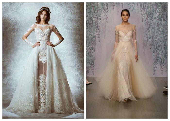 Пышное свадебное платье с двойной юбкой