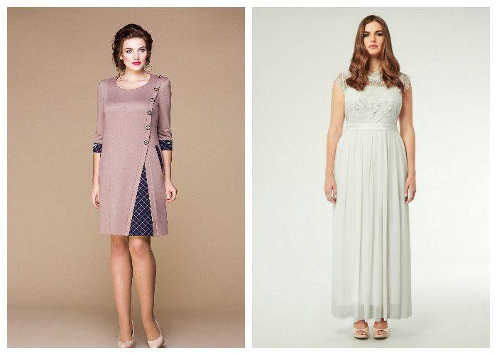 Короткие и длинные модели платьев для полных девушек (фото)