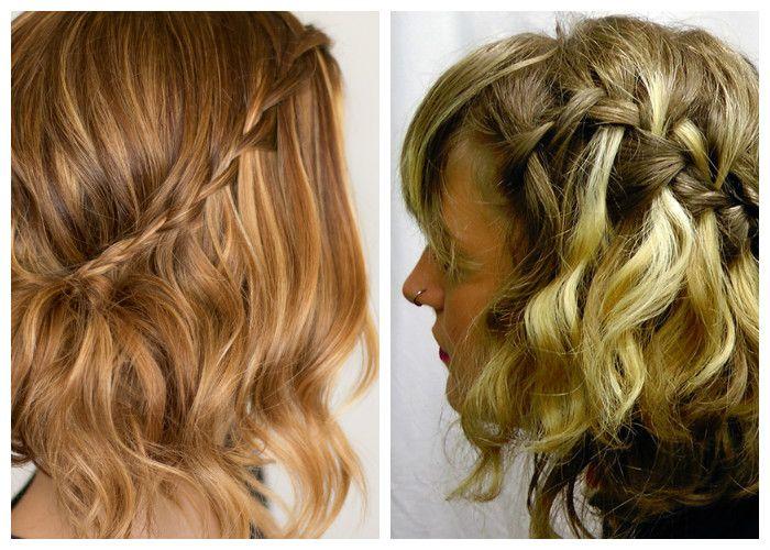 Прическа водопад на волосы средней длины (фото)