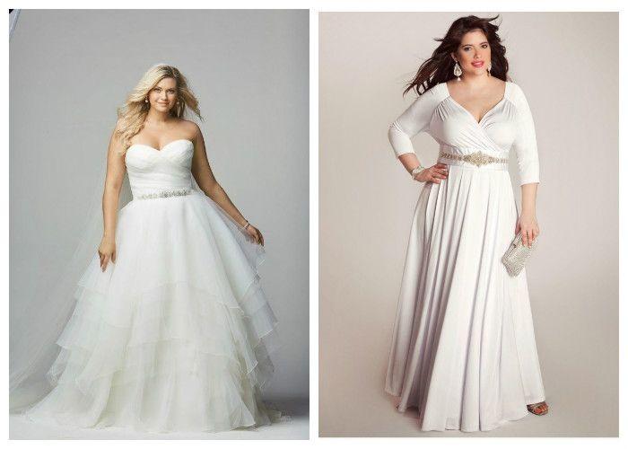 Свадебные платья для полных девушек с акцентом на талии (фото)