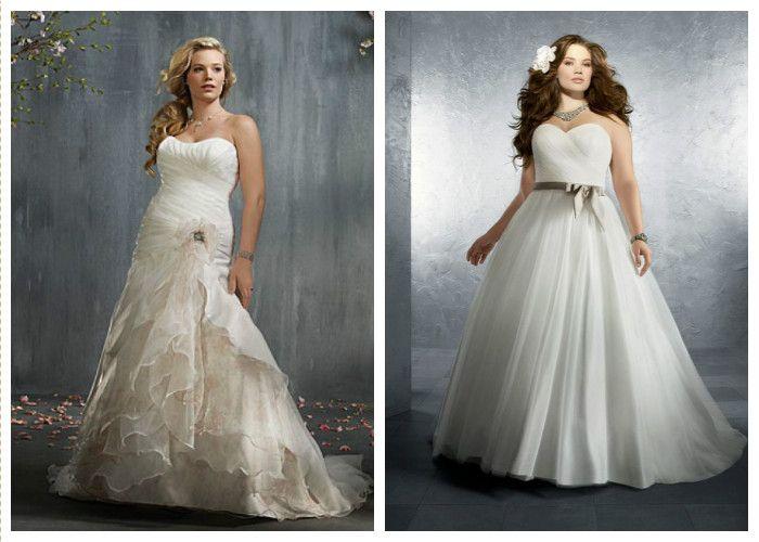 Длинные пышные свадебные платья для полных (фото)