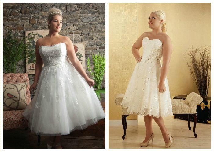 Свадебные платья для полных средней длины (фото)