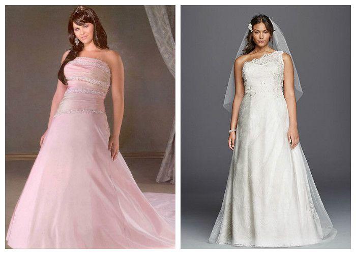 Свадебные платья для полных девушек А-силуэта (фото)