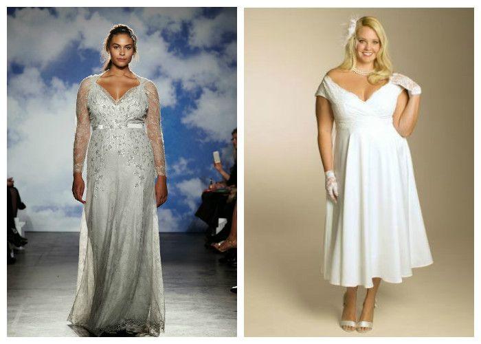 Свадебные платья для полных девушек с V-образным вырезом (фото)