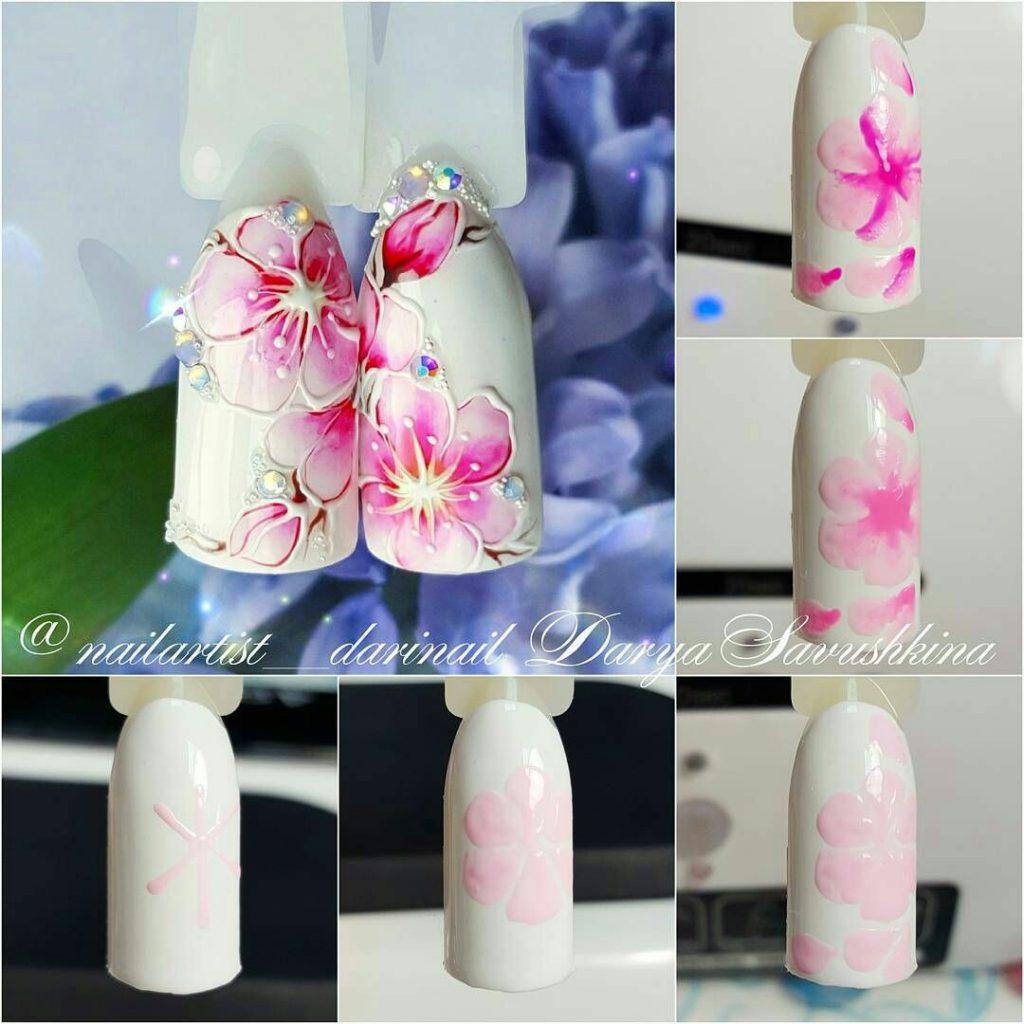 Простые цветы на ногтях пошаговое фото
