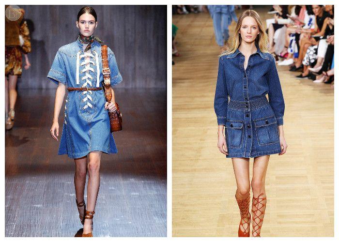 Фото джинсовых платьев длины до колена: модные новинки 2016
