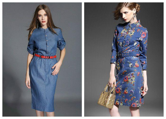 Джинсовые платья: фасон футляр
