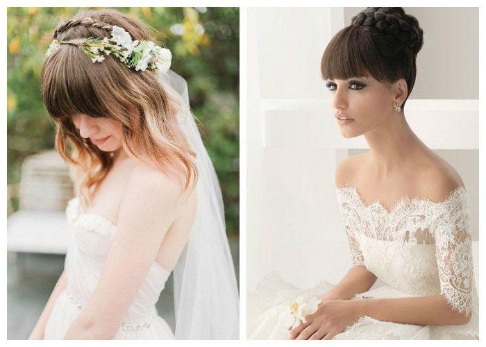 Свадебные прически с челкой: фото