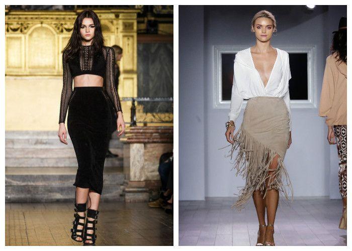 Модная юбка-карандаш с завышенной талией и с бахромой (фото)