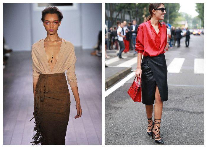 Модная юбка-карандаш с запахом и бахромой (фото)