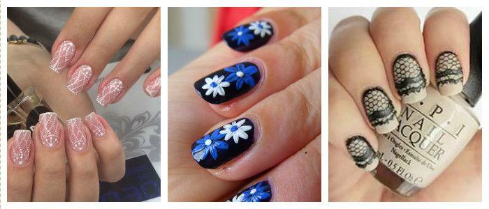 Домашний дизайн ногтей гель-лаком, коспись, кружево, дотс, фото