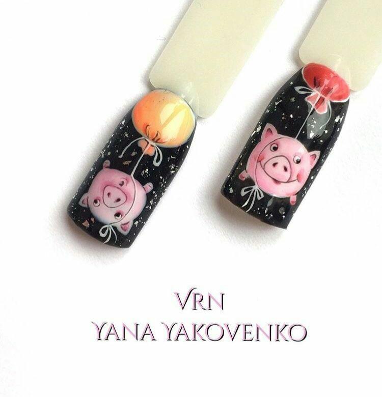 Новогодний маникюр с кабаном, свиньей