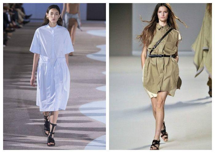 Платье-рубашка: с чем носить, фото