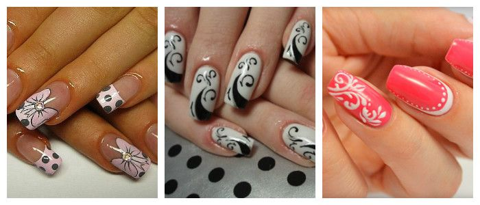 Рисунки на ногтях в домашних условиях: кисточкой, фото