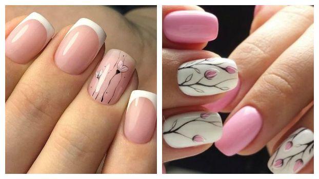 Розовый маникюр с веточками