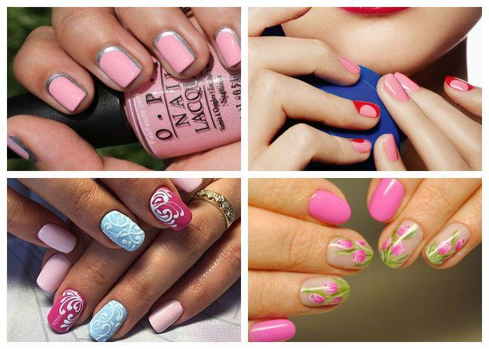 Розовый маникюр на коротких ногтях, фото