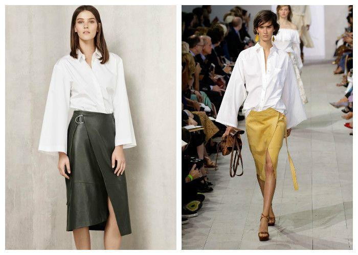 Тренд сезона - белая рубашка с юбкой с запахом, фото