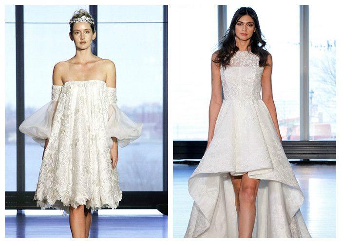 Свадебные платья новинки: короткие, фото
