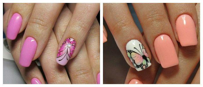 Летний маникюр с бабочками, фото