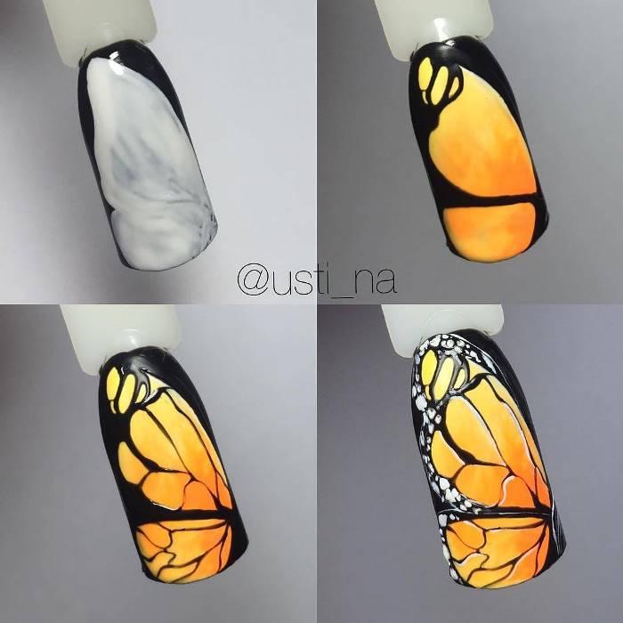 Роскошная бабочка на ногтях: фото пошагово