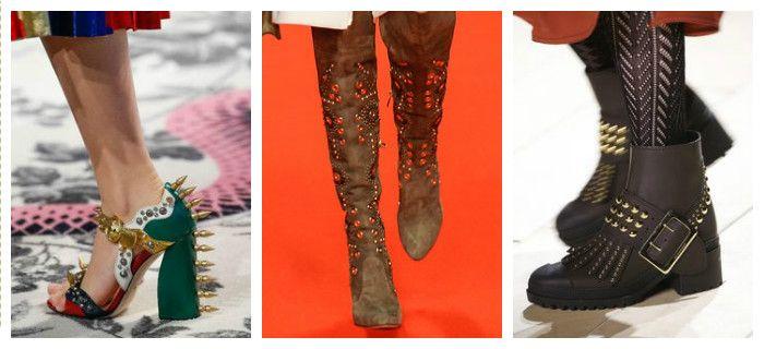 Модная обувь осень-зима 2016 - 2017, декорированная шипами и заклепками, фото